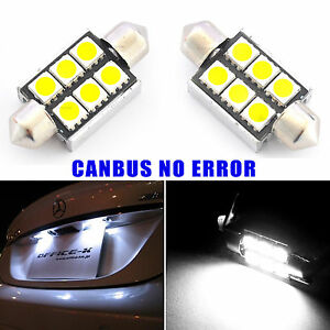 2x-Canbus-No-Error-License-Plate-White-LED-Light-Bulbs-6418-36MM-Festoon-Lamps