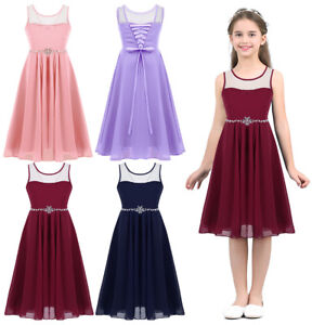 86a96ba6c2cd8 Image is loading New-Mesh-Chiffon-Bridesmaid-Princess-Wedding-Girls-Dress-