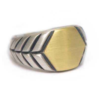 New DAVID YURMAN Men's Modern Chevron Hex Signet Ring 18K & Silver  Size 9.75