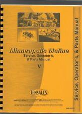 Minneapolis Moline V Tractor Service Operators Manual Parts Catalog
