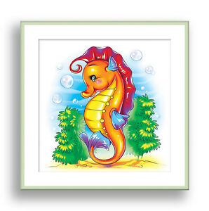 Image is loading Seahorse-Wall-Art-Ocean-Animal-Children-Bathroom-Decor-  sc 1 st  eBay & Seahorse Wall Art Ocean Animal Children Bathroom Decor Kids Playroom ...