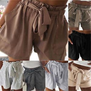 Women-High-Waist-Shorts-Tie-Front-Summer-Beach-Casual-Hot-Pants-Trousers-Bottoms