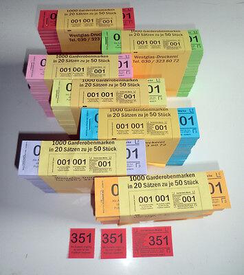 3tlg Garderobenscheine 3 teilig 251-500 Garderobenmarken Abreißmarken