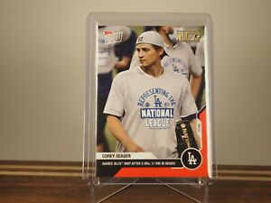 Corey Seager - MLB TOPPS NOW Card 444 - NLCS MVP Red 05/10 Foil Parallel