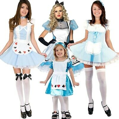 *UK Seller* Adult Kid Alice In Wonderland Costume Fancy Dress Book Day Halloween
