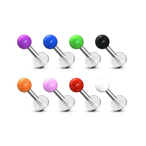 Labio Labret Stud Bar Piercing con bola de color UV Sólido De Acero Quirúrgico