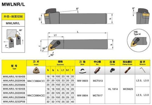MWLNR 1616H08 16 x 100mm Index External Lathe Turning Tool Holder