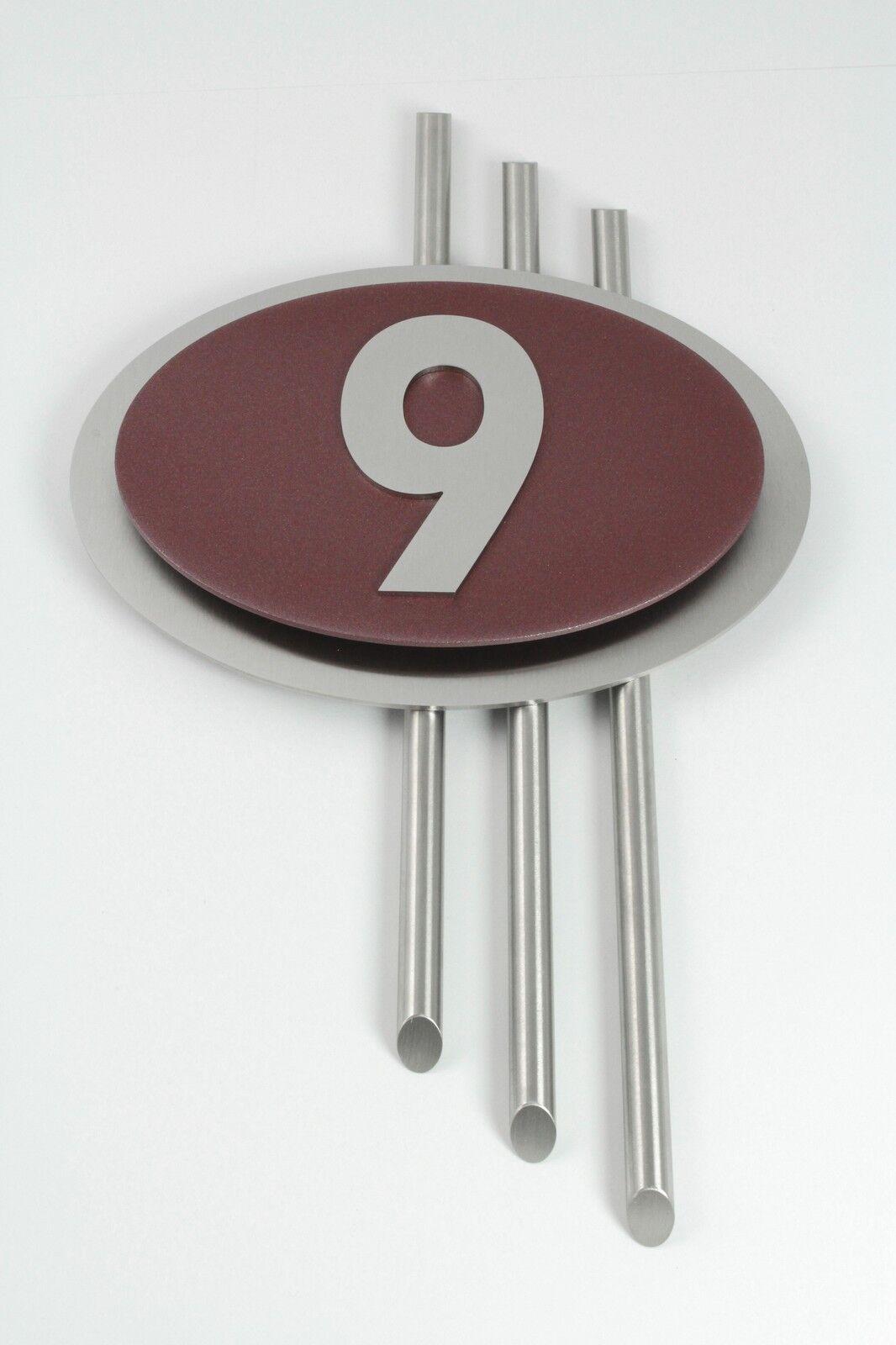 Hausnummer Edelstahl Bordeaux Design Galaxy Zahl 1-9 V2A Zierstangen