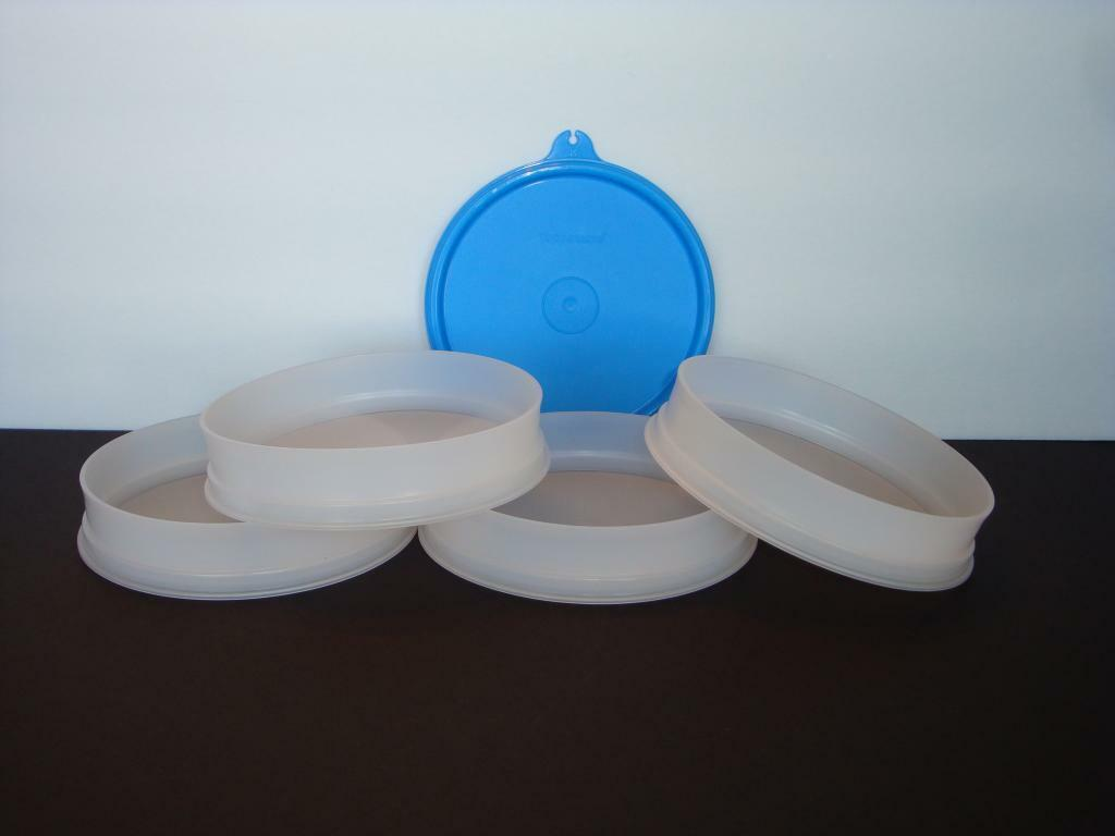 Tupperware Hamburger Keepers Set of 4 Or Freeze Baby Food Taffy Blue Seals NEW