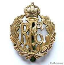 Genuine: WW1 Royal Flying Corps RFC Brass Cap Badge -Air Force RAF Kings Crown A