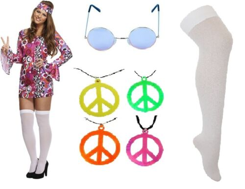 Womens Pink 60/'s 70/'s Hippy Hippie Fancy Dress Brady Bunch Costume Woodstock