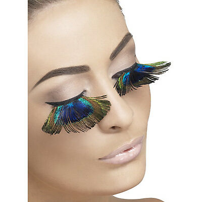 Long Peacock Feather Eyelashes Ladies Deluxe Fancy Dress Accessory