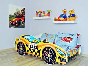 rennauto bett gelb kinder bett mit matratze 140x70cm. Black Bedroom Furniture Sets. Home Design Ideas