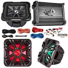 "Kicker 12"" Marine Car Subwoofer W/ LED Grill, 2000W Amplifier W/ Amp Install Kit"