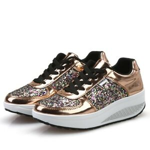 Damens Shooes Traners Gold Silver Iridescent Shooes Damens Fashion Creepers ... 4d361e