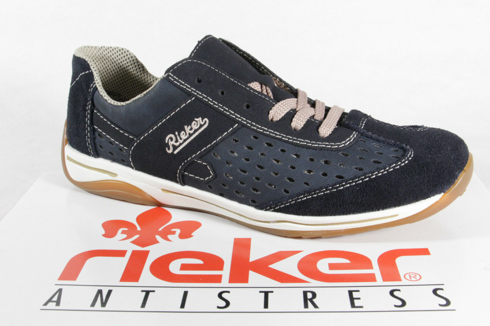 Descuento de la marca Descuento por tiempo limitado Rieker Damen Schnürschuhe, Halbschuhe, Sneaker Echtleder/Synthetik blau  NEU!
