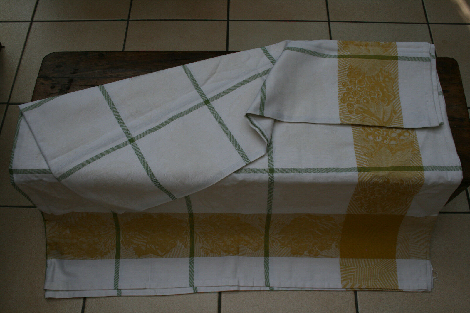 Le jacquard francais Tovaglia 175x175,Quadrettato verde bianco nuovo con