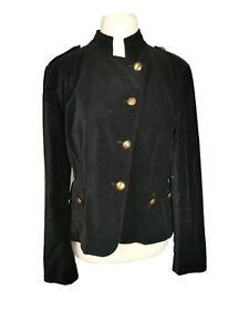 Principles-black-velour-cotton-button-down-smart-evening-military-jacket-size-16