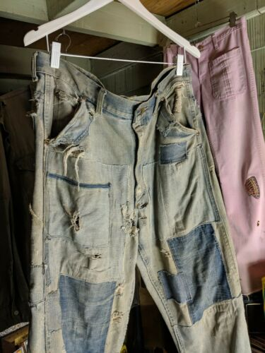 1940s LEE JEANS, UNION MADE, PATCHED, FADED, Denim