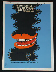 1981-Original-Cuban-Movie-Poster-034-Comedy-Week-034-art-film-Laughing-Comedy-Red-Lips