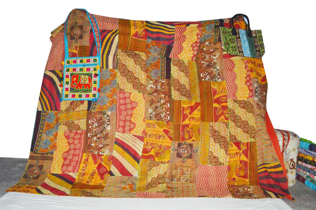 Indian Handmade Old Vintage Sari Patchwork Twin Cotton Kantha Quilt Throw Bed