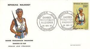 ENVELOPPE-PREMIER-JOUR-MADAGASCAR-TANANARIVE-DANSES-FOLKLORIQUES-MALGACHES-1967