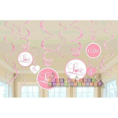 12 PINK WEDDING BRIDAL PARTY SWIRL DECORATIONS ~ Engagement Shower Supplies