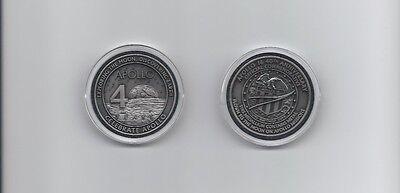 Apollo 16 Antique Silver Coin Contains Flown To Moon Metal NASA Medallion Token