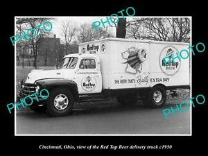 OLD-LARGE-HISTORIC-PHOTO-OF-CINCINNATI-OHIO-THE-RED-TOP-BEER-TRUCK-c1950