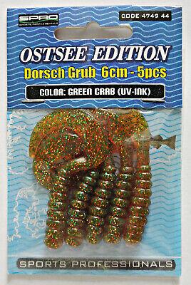 SPRO Ostsee Edition Dosch Grub+Green Crab+UV-INK+6cm+5 Stück+Twister Beifänger