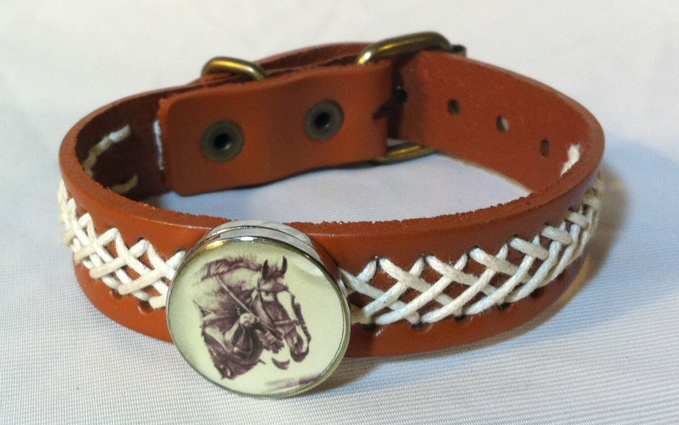 HORSE SNAP & LEATHER twine stitch BRACELET 18-20MM JUMPER  WHITE BLAZE  BUBBLES    high quality & fast shipping