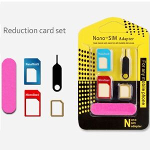 3PC-4-in-1-SIM-Card-Adapter-Micro-SIM-Stander-Sim-Karte-Simkarte-fuer-Iphone