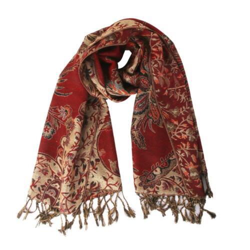 Womens Cashmere Scarf Jacquard Print Shawl Wrap Pashmina Neck Stole Maroon