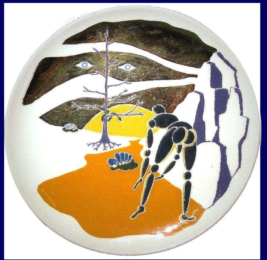 Hand Painted Cream & or leaf Ceramic Art Plate by Alex Nodopaka