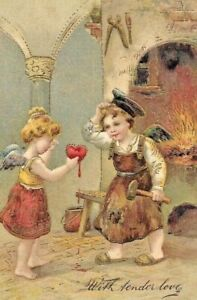 Antique-Post-Card-German-American-Novelty-Art-Series-1907-Children-Gilded-Love