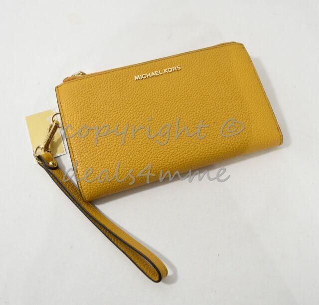 f22e120a92f9 Michael Kors Adele Marigold Wristlet Clutch Pebbled Leather ...