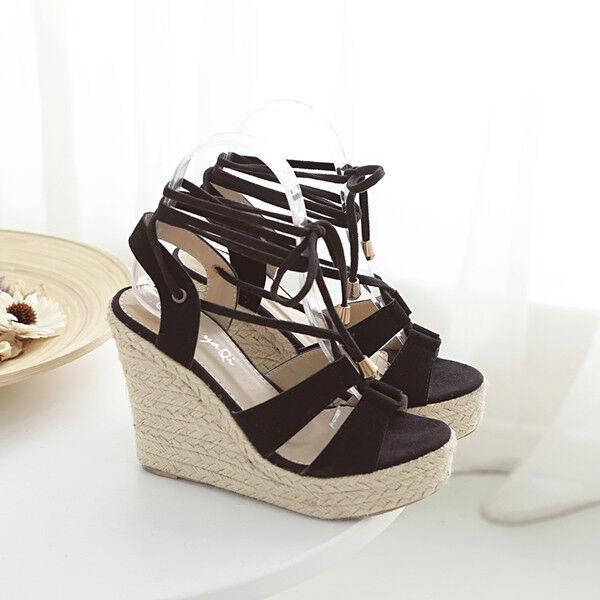 Sandalias elegantes talón cuña cómodo 11 cm negro cuerda cuerda cuerda como piel 9676  encuentra tu favorito aquí