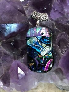 Fused-Dichroic-Glass-and-Sterling-Silver-Pendant-Necklace