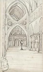 HENRIETTA-ELIZABETH-HOWARD-Pen-amp-Ink-Drawing-WELLS-CATHEDRAL-INTERIOR-c1835