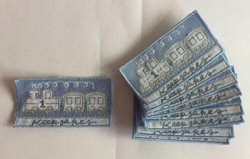 10 x Embroidered Blue Train Keepsakes Banner Scrap Book Motifs Patches #8E44