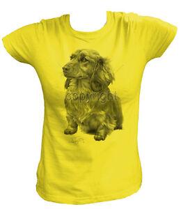 Damen T-Shirt  13270 Dackel Dachshund Langhaar Hund Dog Welpe Rasse Tier Bild