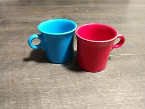 Set Of 2 Fiesta Tom And Jerry Red And Blue Coffee mugs 10 oz. Fiestaware