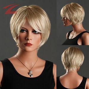 wow znl damen per cke wie echthaar blond haar wigs gelockt kurz frau cosplay neu ebay. Black Bedroom Furniture Sets. Home Design Ideas