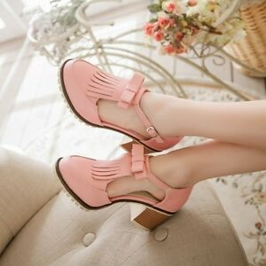 Sweet-Womens-Buckle-Strap-Round-Toe-Bowknot-Lolita-Mary-Jane-Block-Heels-Shoes
