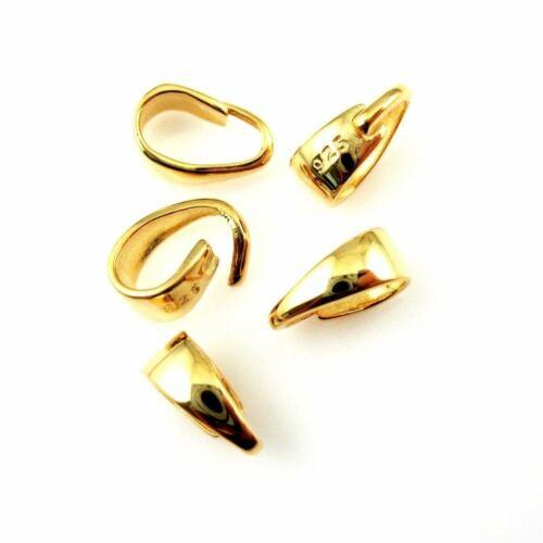 8.5mm-5pcs Bail,Gold plated 925 Sterling Silver Bail-Simple Classic Open Bail
