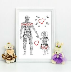 dad personalised gift daddy daughter personalised gift a4 print gift