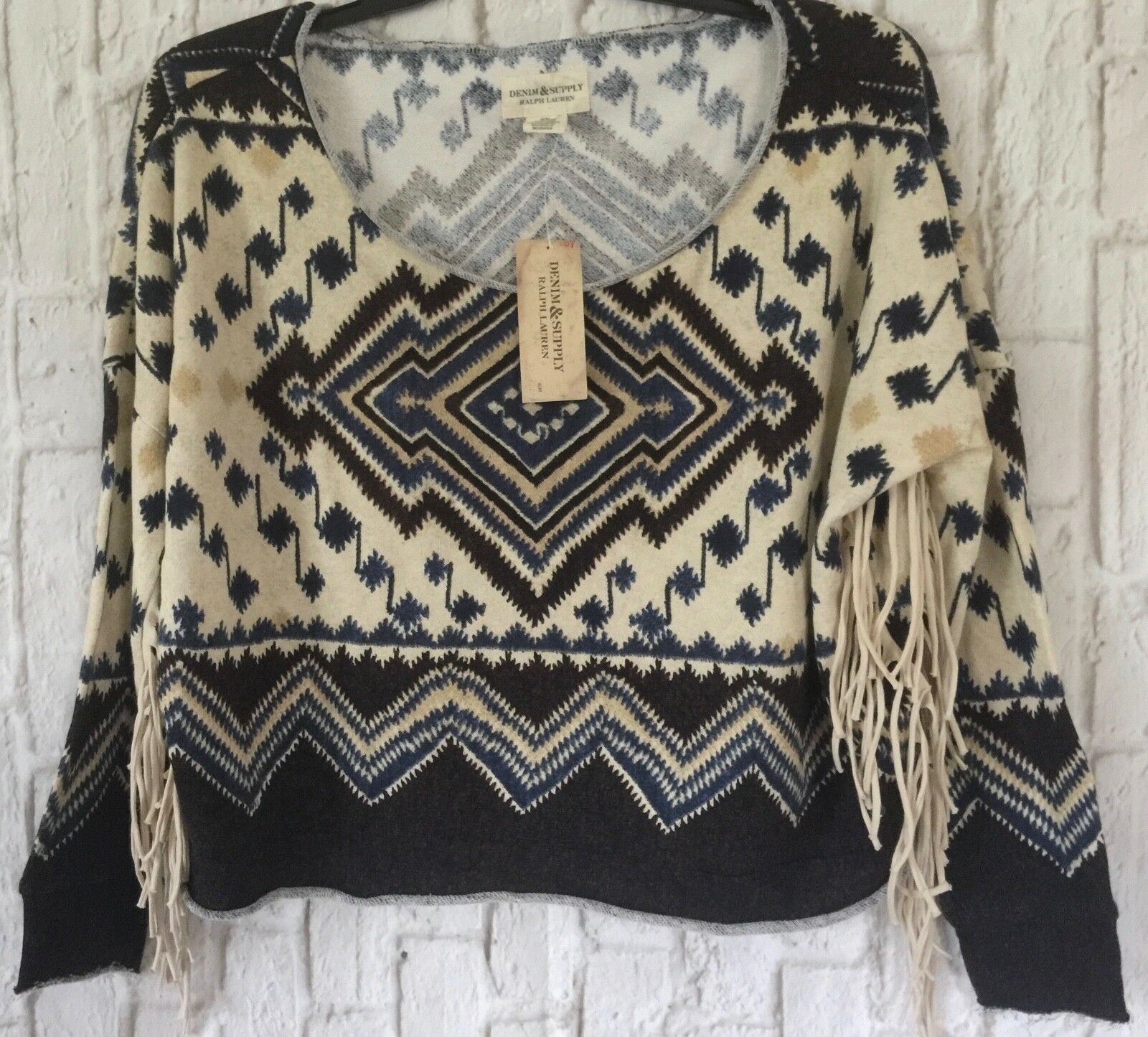 Ralph Lauren Denim & Supply  braun Southwestern Western Fringe Sweatshirt Top M