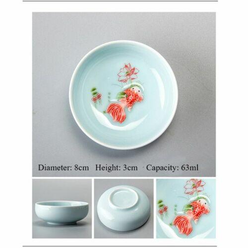 Porcelain Chineseceladon Fish Teacup Set Teapot Drinkware Ceramic Cup Tea Set
