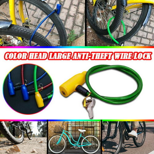 Bicycle Lock Anti-Theft Safety Bike MTB Chain Keys 2 With Lock Cable Steel