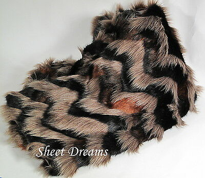 "Nicole Miller Long Hair Cognac Noir Faux Fur Throw Blanket 50"" x 60"" New Tags"